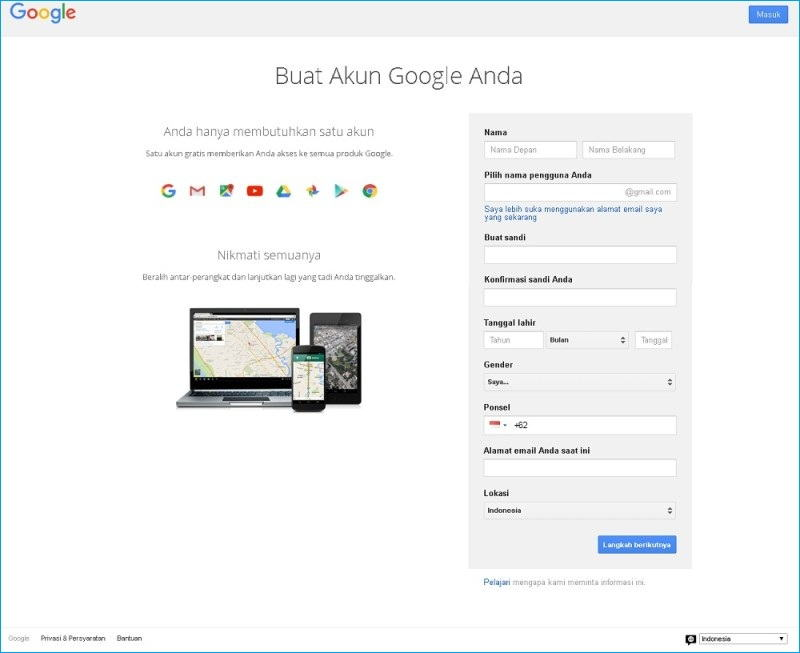 Cara buat akun email baru di google