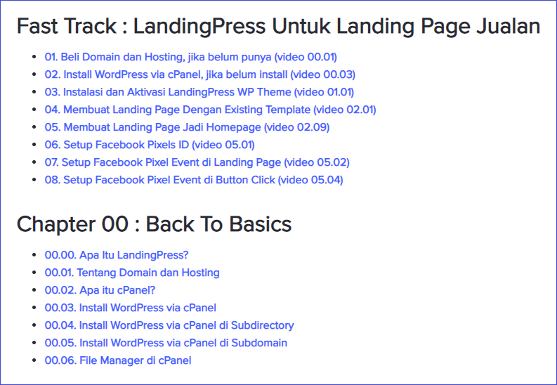 Tutorial Landingpress