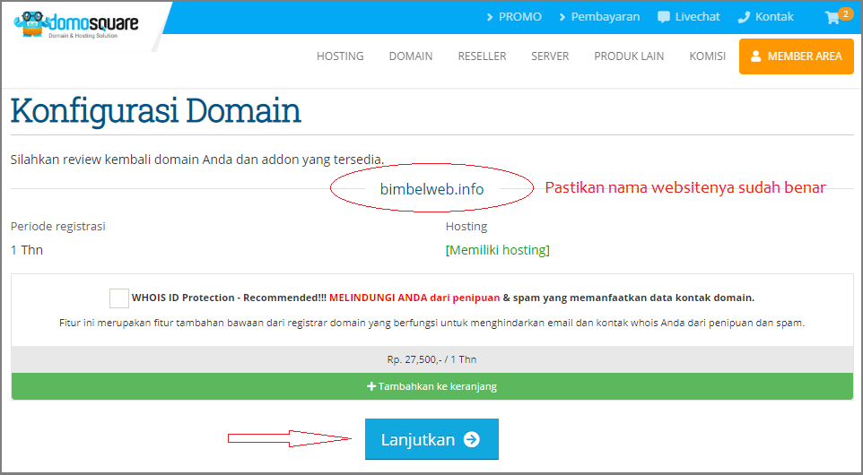 Cara bikin website klik lanjutkan