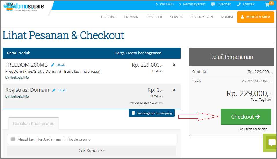 Cara bikin website online klik checkout