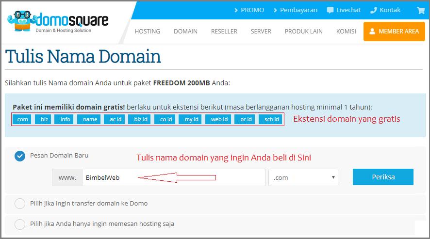 Tulis nama domain