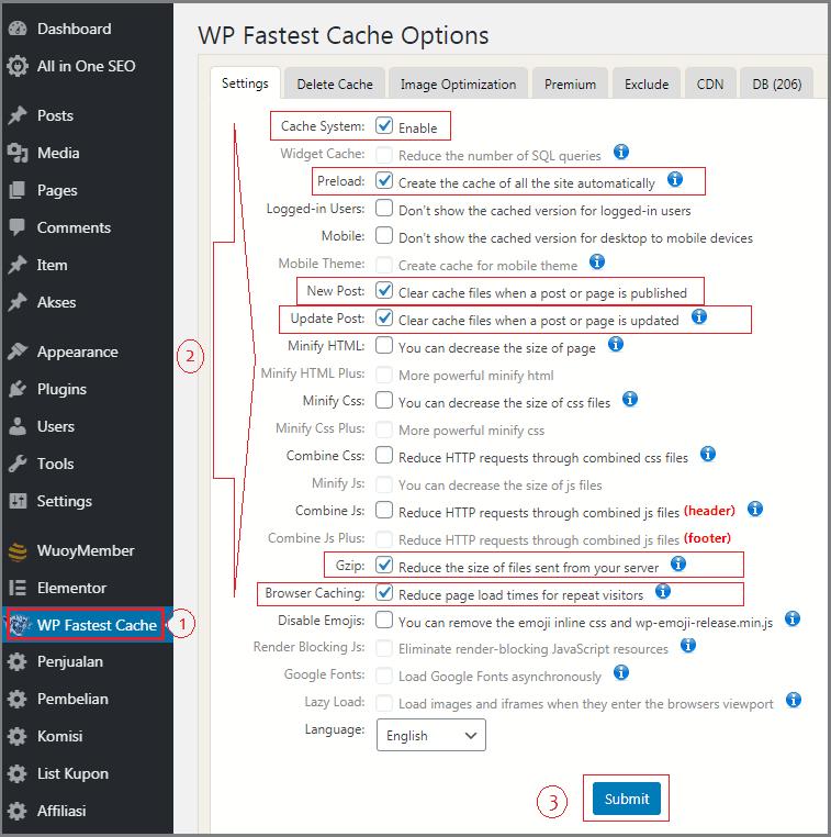 cara buat website di wordpress setting wp fastest