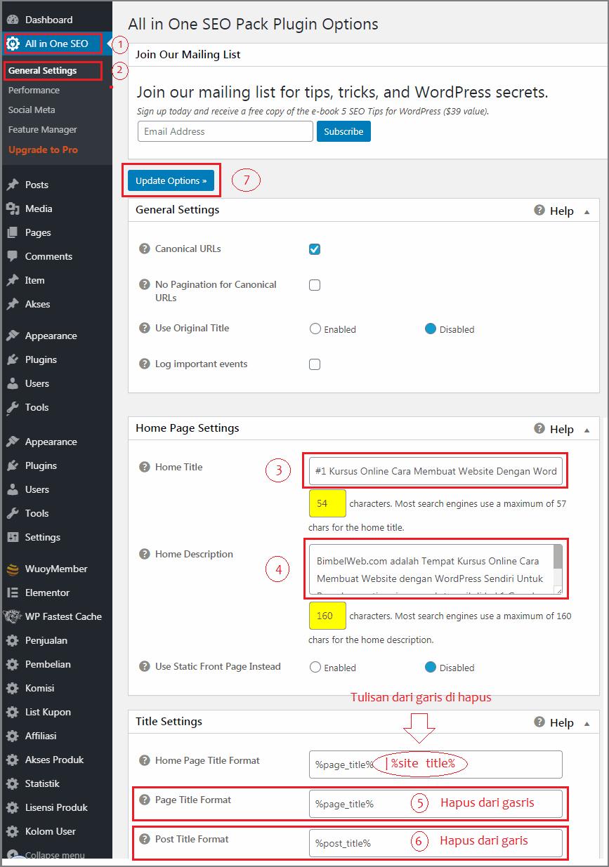 cara membuat website berbayar setting all in one