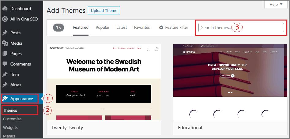 cara membuat website dari nol instal theme