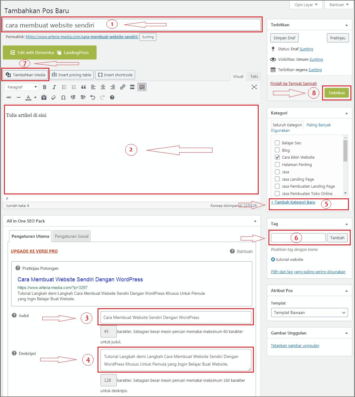 cara membuat website di wordpress posting