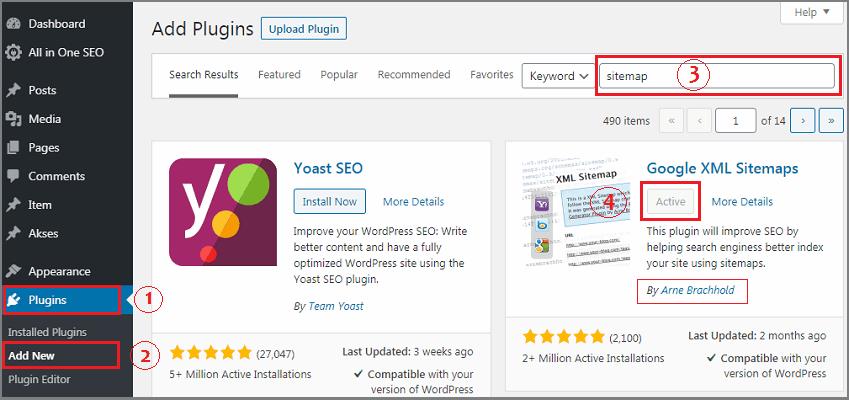 cara membuat website pemula sitemap